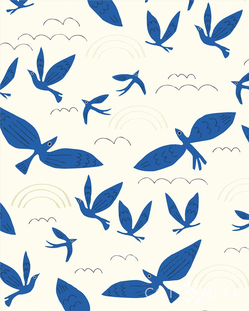 Marvelous Blue Birds No Place Like Leah Organic Blue Birds Fly By Leah Duncan Cottoneer Fabrics Cloud 9 Fabrics Australia Cloud 9 Fabrics Blog houzz-02 Cloud 9 Fabrics