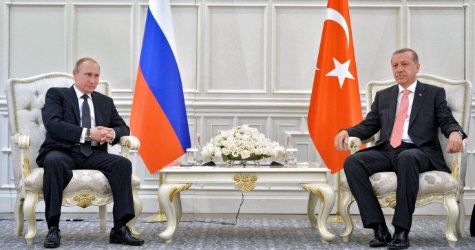Russian President Vladimir Putin meets with President of Turkey Recep Tayyip Erdogan