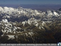 Mount Everest -- also called Sagarmāthā in Nepali; Chomolungma in Tibetan -- the Earth's highest mountain, with a peak at 8,848 meters (29,029 ft) above sea level.  Also visible in this airliner view from about 30,000 feet are other 8000 meter peaks such as Makalu,  Cho Oyu and  Lohtse.  Note the large number of glaciers with clear signs of melting, such as debris covered and fractured ablation zones and newly revealed bare rock below the ends of the glaciers.