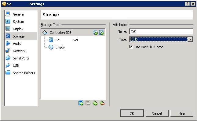 VirtualBox Storage Type ICH6