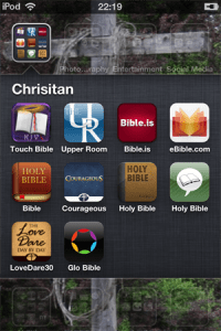 Screen shot of some of the Christian apps on my iPod Touch