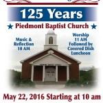 Piedmont Baptist Church 125 Annivesary
