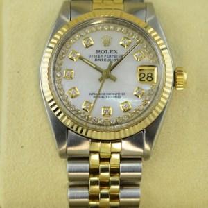 Rolex Datejust mit Perlmutt Zifferblatt mit Gold und Diamanten