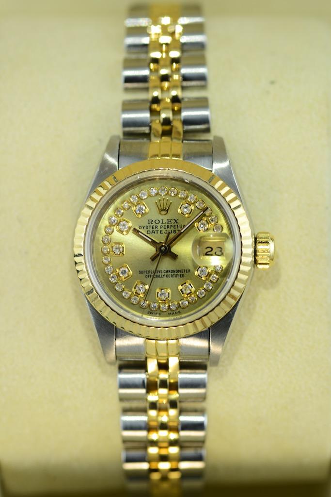 rolex lady datejust bicolor mit zifferblatt in gold und 43 diamanten couture watch rolex. Black Bedroom Furniture Sets. Home Design Ideas