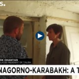 Displaced Talish resident Garik Ohanyan shows Euronews reporter Valérie Gauriat his destroyed house. (Snapshot from the Euronews video report)