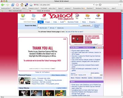 We did it - turned the Yahoo! home page red