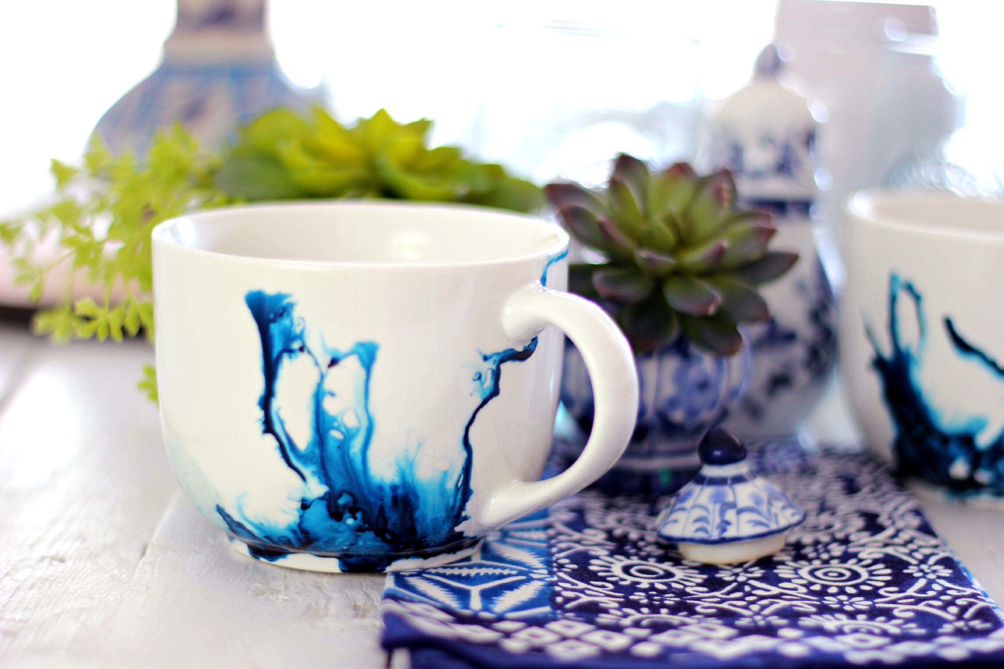 Double An Ceramic Coffee Mugs Watercolor Mugs Using Alcohol Ink furniture Beautiful Ceramic Mugs