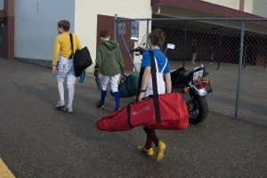 Fencers going to practice