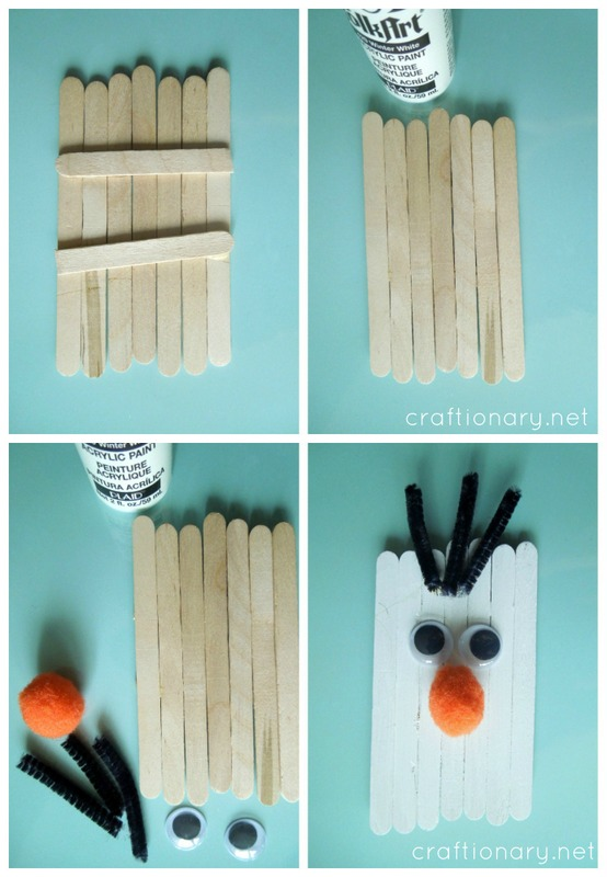Popsicle Sticks Olaf Frozen Snowman Craftionary