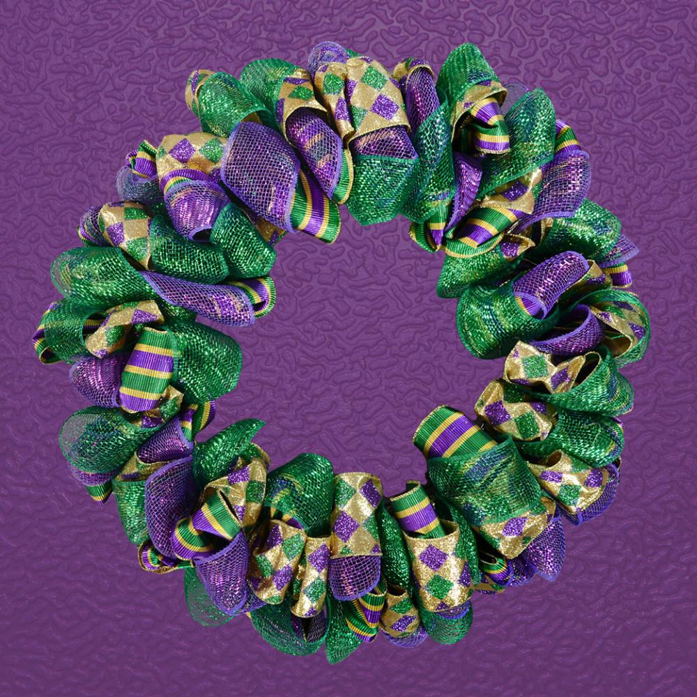 Cheery Mardi Gras Wreath Kit Mardi Gras Four Ribbon Wreath Kit Mardi Gras Wreaths Ideas Mardi Gras Wreaths New Orleans houzz 01 Mardi Gras Wreath