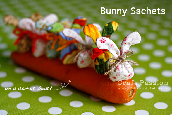Bunny sachets on the carrot boat