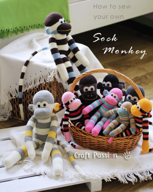 Stuffed Sock Monkey Toys DIY Craft Project