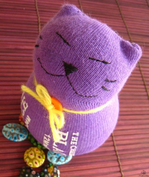 Stuffed Sock Kitty Cat Toys DIY Craft Project