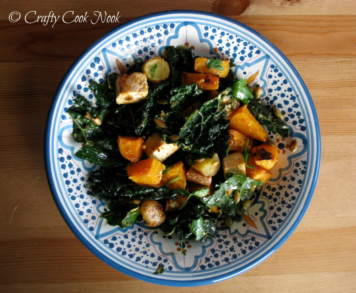 'Winter Wow' One-Dish Dinner: Miso-Curry Butternut Squash with Tofu, Kale, and Crunchy Pepitas