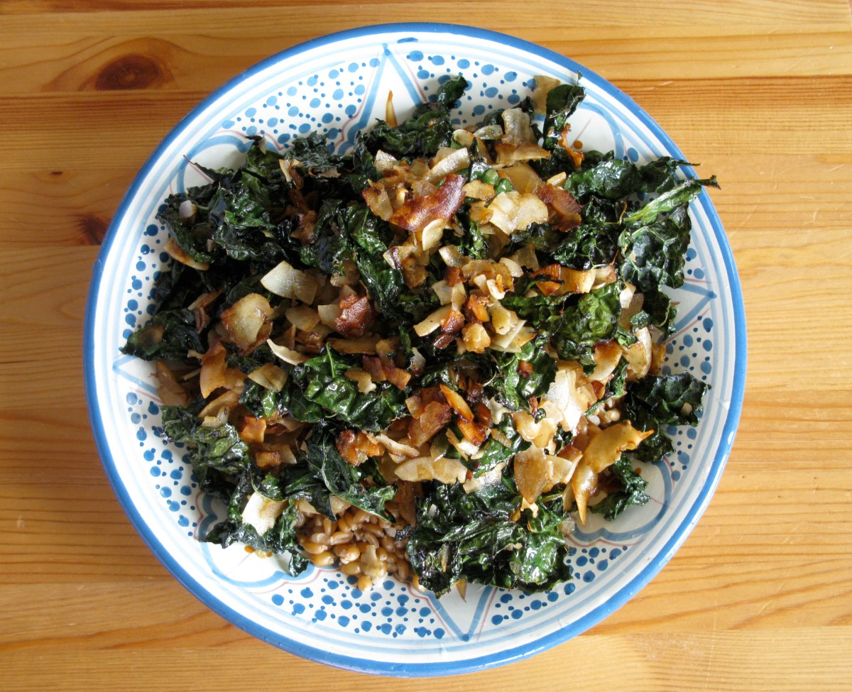 Asian Kale Coconut Salad, or Lunch That Punches Fatigue in the Kisser