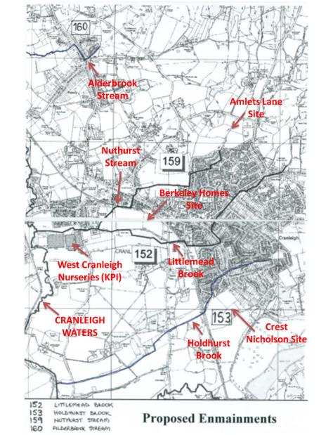 Map of Cranleigh displaying rivers