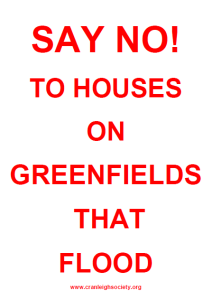 Cranleigh say No to Building on greenfields that flood