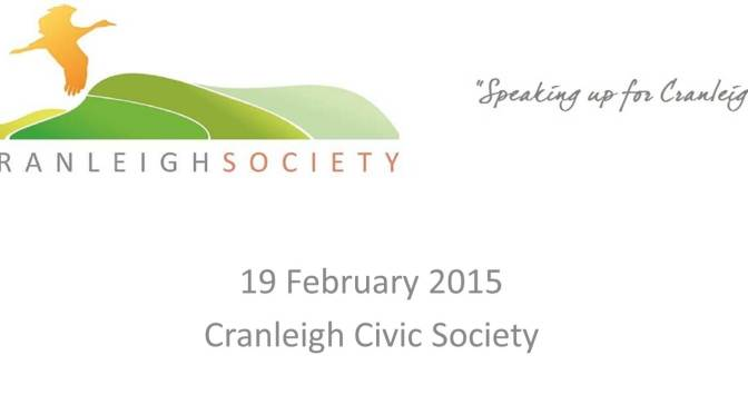 Cranleigh Society Public Meeting