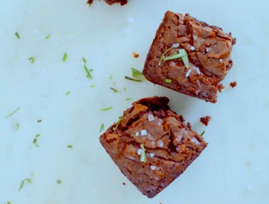 Salted Rosemary Dark Chocolate Brownies-014