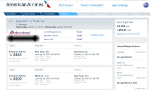 American Airlines Award Ticket from New York to Montreal