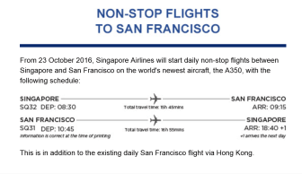 Schedules of Non-Stop Flights to San Francisco