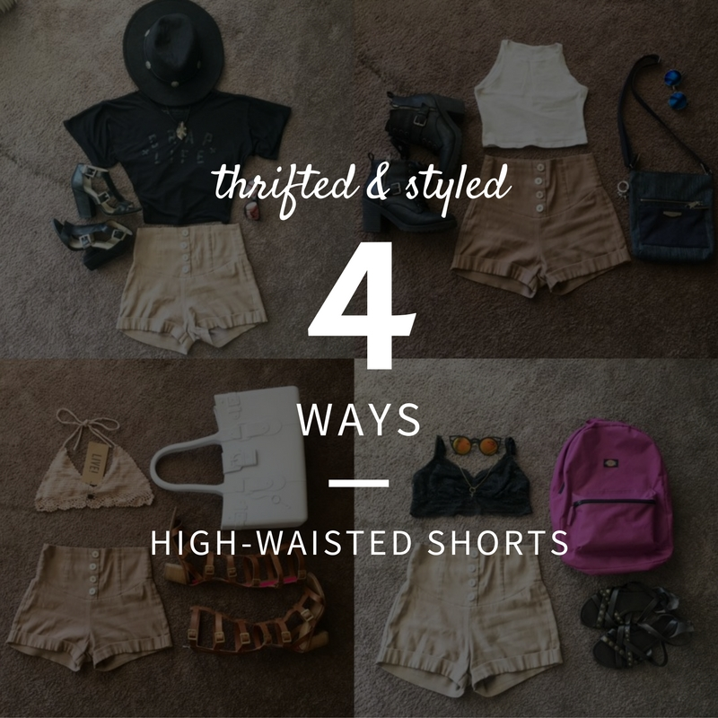 current obsession: high-waisted shorts (thrifted and styled 4 ways)