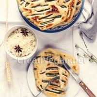 Pan plano con judías verdes francesas al vinagre balsámico y sésamo