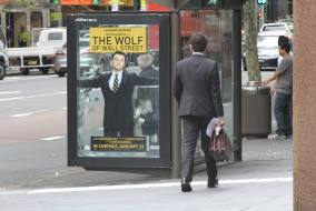 Wolf of wallstreet bus stop ad