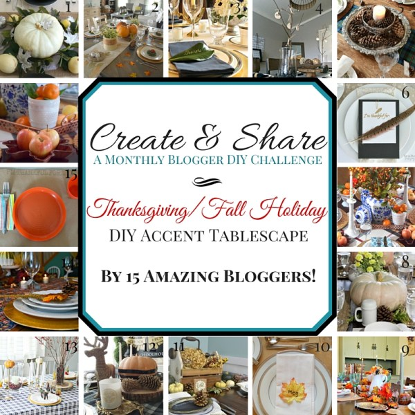 15 AMAZING BLOGGERS put together these fantastic and inspiring Thanksgiving Tablescapes! A Vintage Farmhouse Thanksgiving Tablescape: Create and Share #thanksgiving #tabledecor #farmhouse #Vintage #tablescape #createandshare #DIY