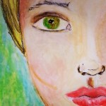 face in oil pastels - by Cristina Parus