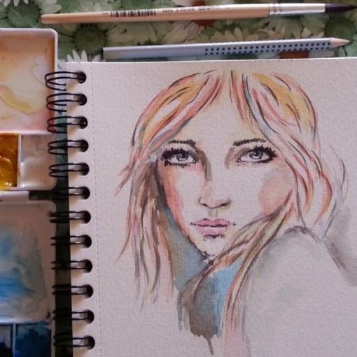 watercolor portrait by Cristina Parus @ creativemag.ro
