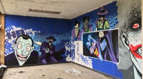 Amazing Batman graffiti inside abandoned nursing school