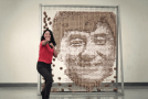 Jackie Chan portrait made of 64,000 chopsticks