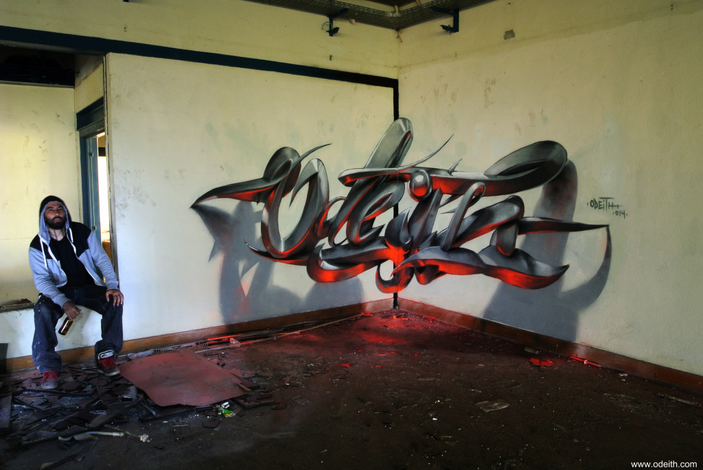 Odeith-Anamorphic-3D-Graffiti-Letters-Orange-fluor-Light-Reflected