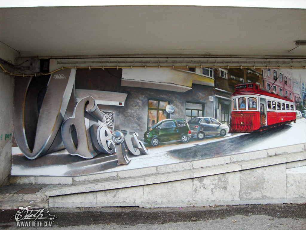 Solid-Graffiti-Letters-and-Traditional-tourists-Lisbon-red-Tram-Mural-Odeith-Lisboa-Portugal