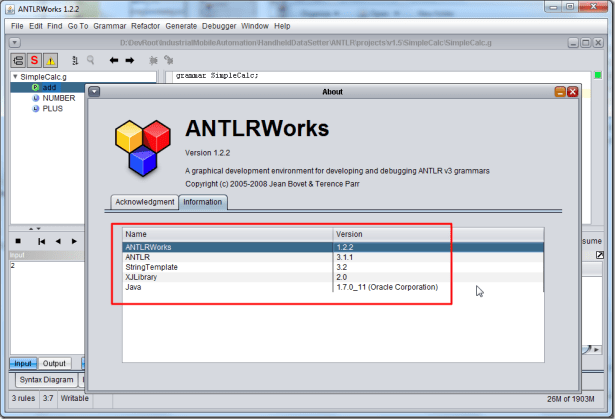 antlrworks 1.2.2 help about information