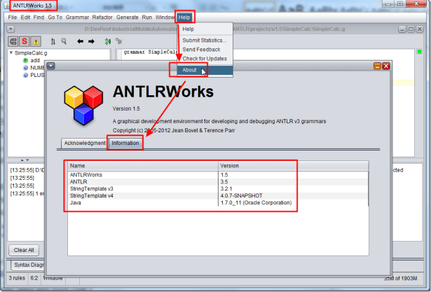 antlrworks 1.5 help about information