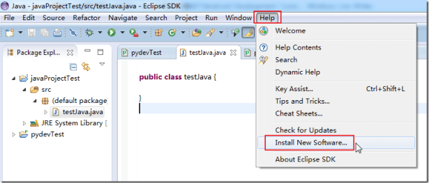eclipse help install new software