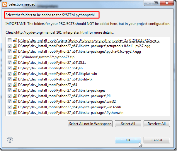 select folder to be added to system pythonpath