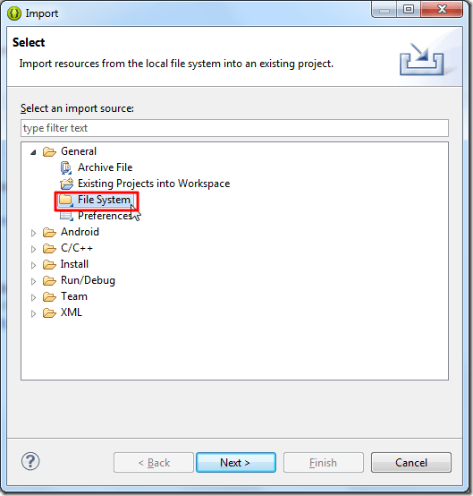 select import from file system