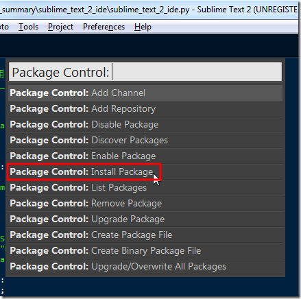 choose install package