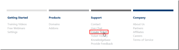 create a new ticket