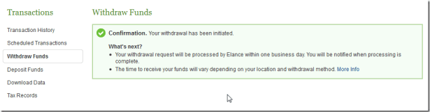 confirmation after submit withdraw