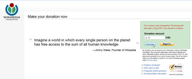 donate dollar 16 to wiki