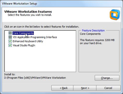 vmware workstation core components