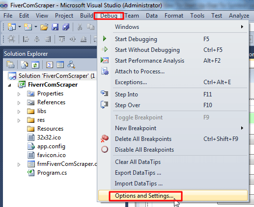 vs2010 debug options and settings