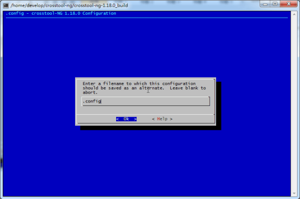 Enter a filename to which this configuration config