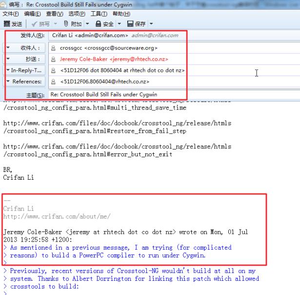 fourth reply crossgcc single message via thunderbird