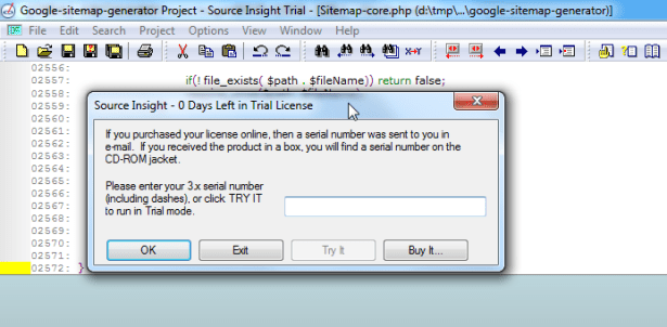 source insight 0 days left trial license