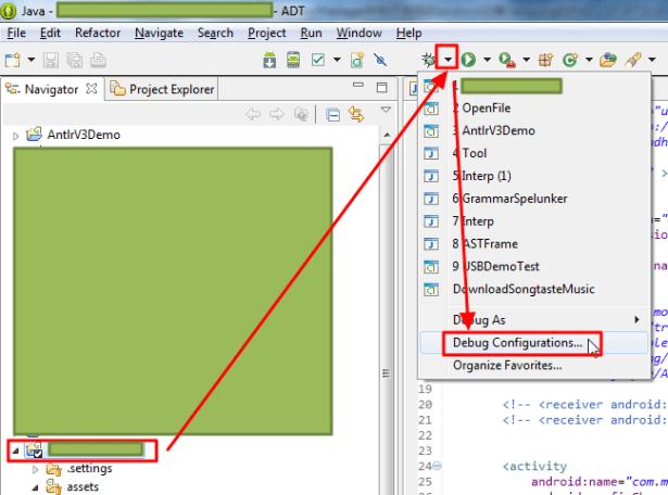 choose current project debug list choose debug configurations